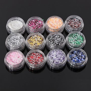 12Pcs Glitter Nail Art Tips Acrylic Powder Dust Manicure Set
