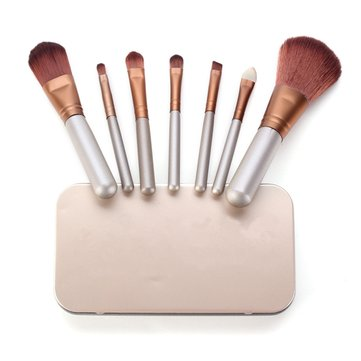 7Pcs Makeup Cosmetic Foundation Blending Blush Eye Brush Set Kit Metal Box