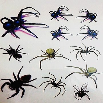 3D Temporary Waterproof Spider Body Tattoo Sticker