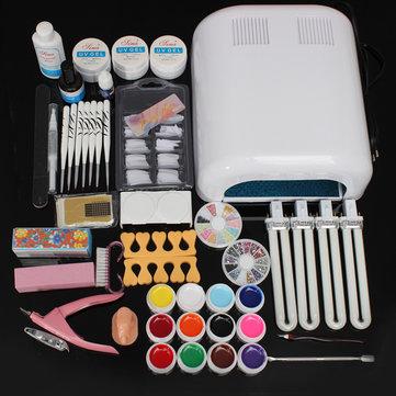 220v 36w uv dicas arte secador de gel lâmpada de cutícula das unhas manicure kit conjunto de ferramentas