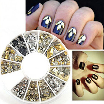 12 Mixed Styles 3D Gold Silver Metal Rivets Nail Decoration Wheel
