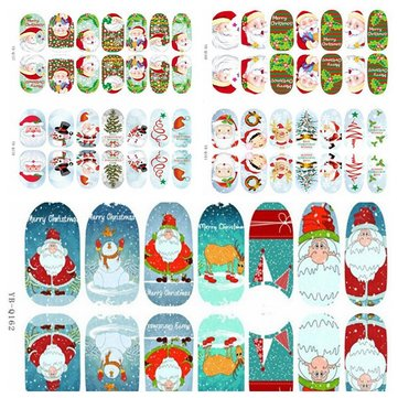 3D Christmas Tree Santa Claus Luminous Nail Full Stickers