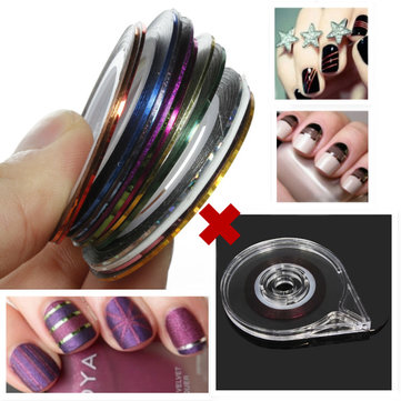18 Colors Rolls Nail Striping Tape Line Sticker Tray Set
