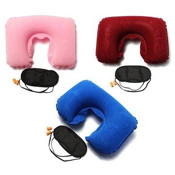 Inflável dormir viagens set u ar travesseiro almofada máscara tampão olho