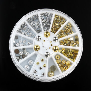 6 Sizes Silver Gold Metal Round Studs Nail Art Decoration Wheel