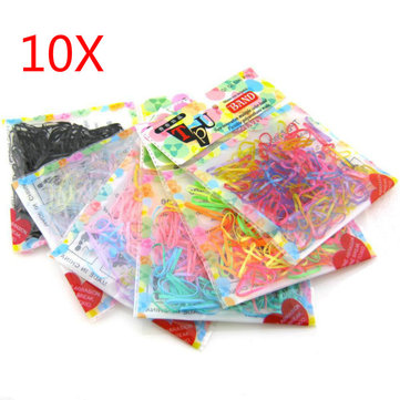 10 Bag TPU Bands Elastics Bobbles Rubber Hair Band