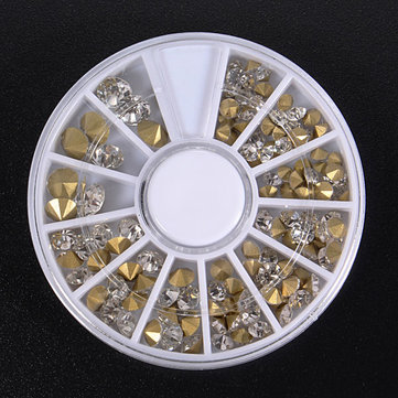 3D Gems Cone Gold Stud Crystal Nail Art Decoration Wheel