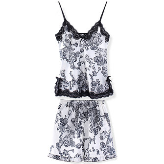 Sexy Women's Deep V-neck Spaghetti Strap Lace Shorts Sleepwear Set