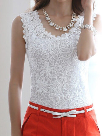 Elegant Women Floral Crochet Lace Sleeveless Tank Tops