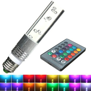 E27 3W RGB 16 Color LED Crystal Light Bulb Lamp with IR Remote Control
