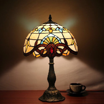 12 Inches Tiffany Style Baroque Fashion Retro Bedside Table Lamp