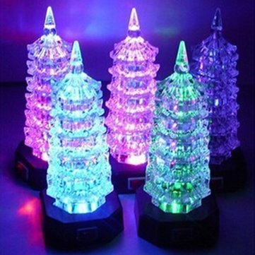Colorful Flashing LED Tower Night Light Decoration Lamp Toy