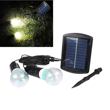 Solar Power LED Lighting System 2 LED Bulbs Garden Yard Outdoor Light