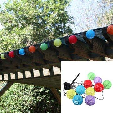 10 LED Solar Power White or Multi Coloured Chinese Lantern Garden String Lights
