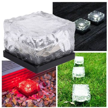 Solar Waterproof Color Changing Ice Blocks LED Outdooors Garden Path Light Lamp