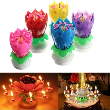 Lovely Musical Lotus Flower Rotating Happy Birthday Party Gift