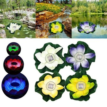 Solar Color-changing LED Lotus Flower Lamp Floating Pond Lamp Garden Pool Light