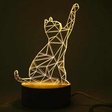 Creative 3D Design Cat Shape Wooden Base LED Table Lamp For Birthday Present Holiday Gift