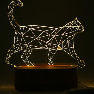 Nordic 3D Micro USB Cat Animal Wooden Base LED Table Lamp Night Light