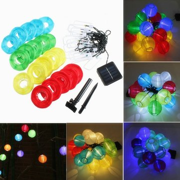 20 LED Solar Power Colorful Lantern String Fairy Light Outdoor Festival Garden Xmas Decor