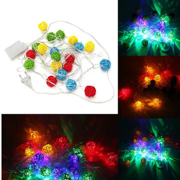 4M 20 Multicolor LED Sepak Takraw Rattan Ball String Light For Holiday Party Decoration