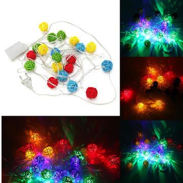 4m 20 multicolor LED SEPAKTAKRAW rattan luz corda bola para o partido decoração feriado