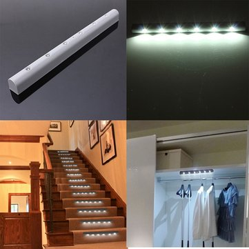 Wireless PIR Motion Sensor 6 LED Battery Powered Cabinet Light Home Stair Night Lamp
