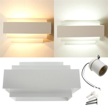Modern E27 Indoor Up Down Wall Light Curved White Hallway Stair Lamp For 110V 220V