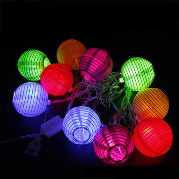 4M 10 LED Foldable Paper Lantern String Light for Festival Xmas Decoration 110V US plug