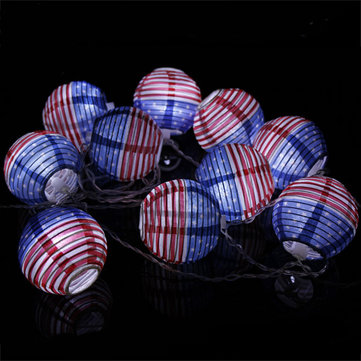 4M 10 LED American Flag Foldable Paper Lantern String Light for Halloween Decoration AC110V-220V