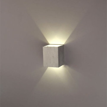 Modern Silver 3W LED Square Wall Lamp Conceal Install Light Fixture