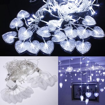 2M White 16 Hearts 104 LED String Fairy Holiday Lights For Party Xmas