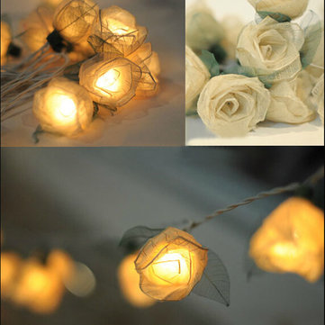 White Rose Flower Fairy String LED Light Wedding Party Shop Design