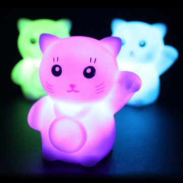 Colorful Flash Lucky Cat LED Lamp Romantic Decoration Night Light