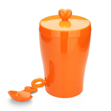 TJ-02-M Pet Cat Dog Food Canister Bin Plastic Seal Storage