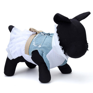 Cotton Denim Jean Pet Dog Dress Clothes