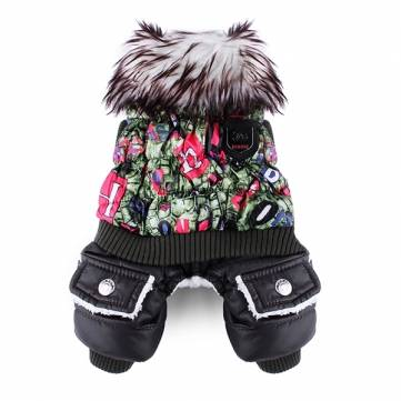Pet Colorful Luxury Thick Cotton Jumpsuit Coat Clothes Winter