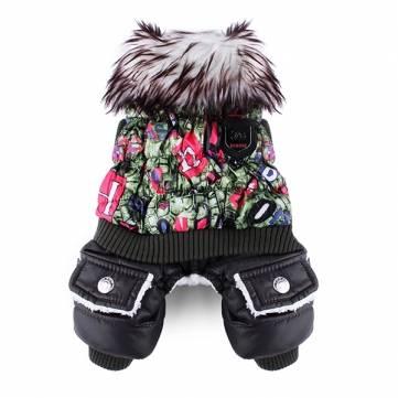 الحيواناتالأليفةالملونةالفاخرةسميكةالقطن بذلة معطف الملابس الشتاء