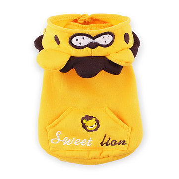 Pet Lion Fleece Spring Autumn Dog Hoodie Coat Yellow