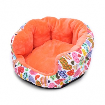 Pet Dog Cat Canvas High-back Kennel Round Bed Orange