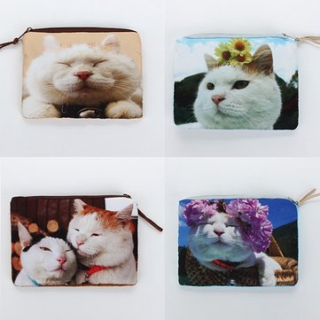 Square Cat Print Makeup Purse Zipper Mini Coin Wallet Cosmetic Bag