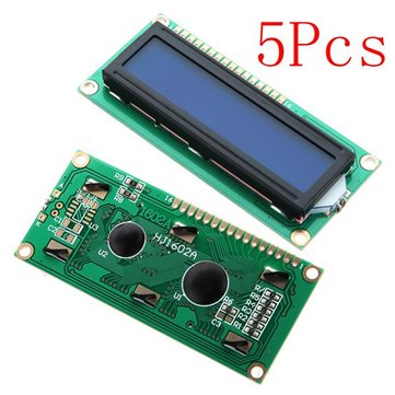 5Pcs 1602 Character LCD Display Module Blue Backlight