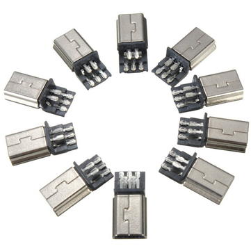 10pcs Mini USB 5Pin Male SMT SMD Plug Soldering Jack Connector Metal Socket