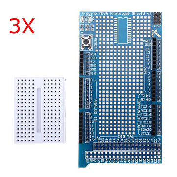 3Pcs Mega2560 1280 Protoshield V3 ExpansiOnboard With Breadboard For Arduino