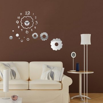 DIY Flower Petal Digital Wall Clock Mirror Acrylic