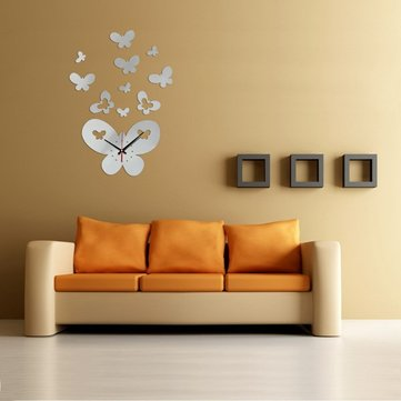 DIY 3D Big Butterfly Wall Clock Mirror Acrylic Home Decor Art