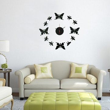 Modern DIY Acrylic Mirror 12 Butterfly Wall Clock Sticker Home Decor Art