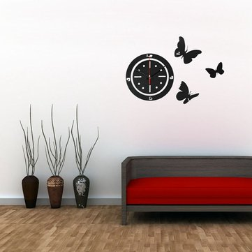 DIY Acrylic Mirror Butterfly Round Wall Clock Home Art Decor