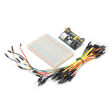 MB102 Power Supply and 65pcs Jumper Cable Dupont Wire and 400 Holes Breadboard Kit