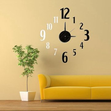 DIY 3D Black & White Art Number Design Wall Clock EVA Sticker Home Decor